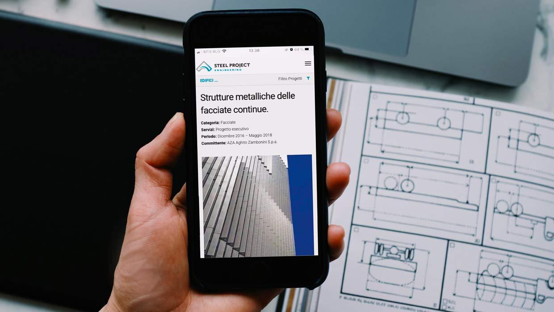 Steel project sito web sezione portfolio